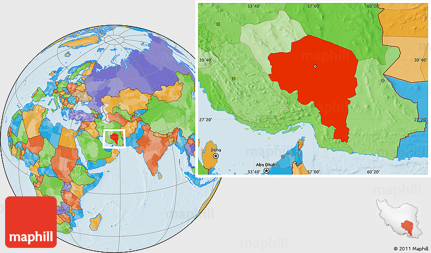 Political Location Map of Kerman