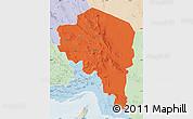 Political Map of Kerman, lighten