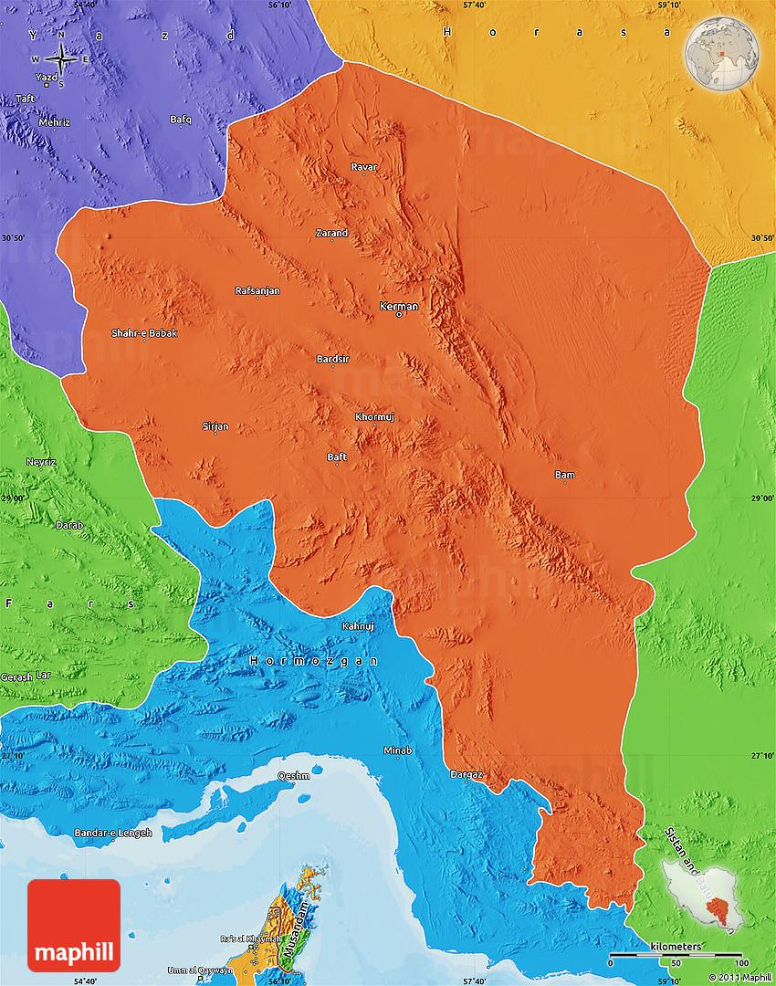 Political Map of Kerman