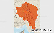 Political Map of Kerman, shaded relief outside