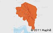 Political Map of Kerman, single color outside