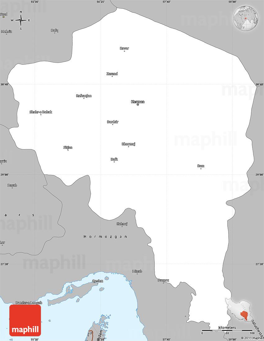 Gray Simple Map of Kerman
