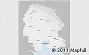 Gray 3D Map of Khuzestan, single color outside