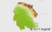 Physical 3D Map of Khuzestan, cropped outside