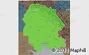 Political 3D Map of Khuzestan, darken, semi-desaturated