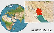 Satellite Location Map of Khuzestan