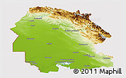 Physical Panoramic Map of Khuzestan, cropped outside