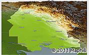 Physical Panoramic Map of Khuzestan, darken