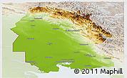 Physical Panoramic Map of Khuzestan, lighten