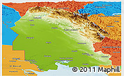 Physical Panoramic Map of Khuzestan, political outside