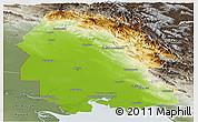 Physical Panoramic Map of Khuzestan, semi-desaturated