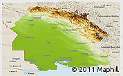 Physical Panoramic Map of Khuzestan, shaded relief outside