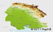 Physical Panoramic Map of Khuzestan, single color outside