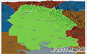 Political Panoramic Map of Khuzestan, darken