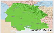 Political Panoramic Map of Khuzestan, lighten