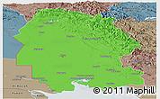 Political Panoramic Map of Khuzestan, semi-desaturated