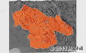 Political 3D Map of Kohgiluyeh & Boyer Ahmad, darken, desaturated