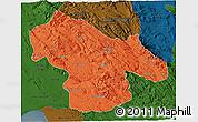 Political 3D Map of Kohgiluyeh & Boyer Ahmad, darken