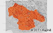 Political 3D Map of Kohgiluyeh & Boyer Ahmad, lighten, desaturated