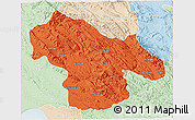 Political 3D Map of Kohgiluyeh & Boyer Ahmad, lighten