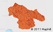 Political 3D Map of Kohgiluyeh & Boyer Ahmad, single color outside