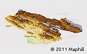 Physical Panoramic Map of Kohgiluyeh & Boyer Ahmad, cropped outside