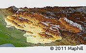 Physical Panoramic Map of Kohgiluyeh & Boyer Ahmad, darken