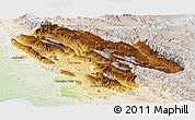 Physical Panoramic Map of Kohgiluyeh & Boyer Ahmad, lighten
