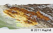 Physical Panoramic Map of Kohgiluyeh & Boyer Ahmad, semi-desaturated