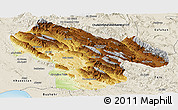 Physical Panoramic Map of Kohgiluyeh & Boyer Ahmad, shaded relief outside