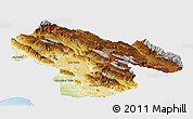 Physical Panoramic Map of Kohgiluyeh & Boyer Ahmad, single color outside