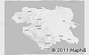 Gray 3D Map of Kordestan, single color outside