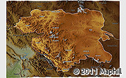 Physical 3D Map of Kordestan, darken