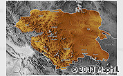 Physical 3D Map of Kordestan, desaturated