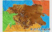 Physical 3D Map of Kordestan, political outside