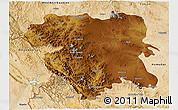 Physical 3D Map of Kordestan, satellite outside