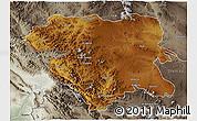 Physical 3D Map of Kordestan, semi-desaturated