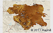 Physical 3D Map of Kordestan, shaded relief outside