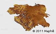 Physical 3D Map of Kordestan, single color outside