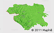 Political 3D Map of Kordestan, cropped outside