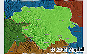 Political 3D Map of Kordestan, darken