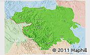 Political 3D Map of Kordestan, lighten