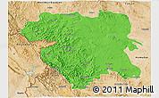Political 3D Map of Kordestan, satellite outside