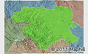Political 3D Map of Kordestan, semi-desaturated