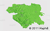 Political 3D Map of Kordestan, single color outside