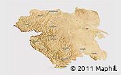 Satellite 3D Map of Kordestan, cropped outside