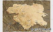 Satellite 3D Map of Kordestan, darken