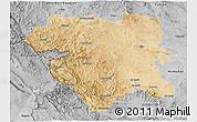 Satellite 3D Map of Kordestan, desaturated