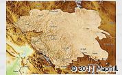 Satellite 3D Map of Kordestan, physical outside