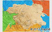Satellite 3D Map of Kordestan, political outside